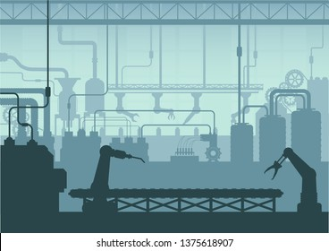 Silhouette factory interior with machine and conveyor belt flat design vector illustration