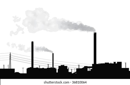 Silhouette of a factory with smoke coming out of chimneys.