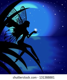 Silhouette fairy girl holding a star on a background with the moon