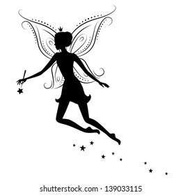 Silhouette of a fairy with magic wand. Vector illustration isolated on white background.