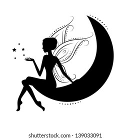 Silhouette of a fairy on moon. Vector illustration isolated on white background.