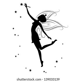 Silhouette of a fairy and stars . Vector illustration isolated on white background.