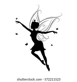 Silhouette of a fairy. Template fairy for cut of laser or engraved. Stencil for paper, plastic, wood, laser cut acrylic. Decoration for windows, wall and interior design. Vector illustration isolated.