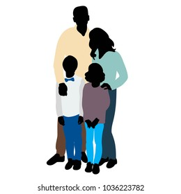 silhouette family in colored clothes