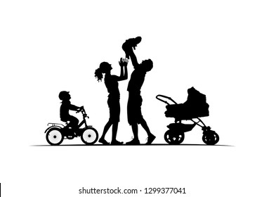 Silhouette of family with cradle baby-carriage and kid on bike