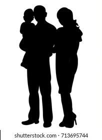 silhouette of a family, isolated