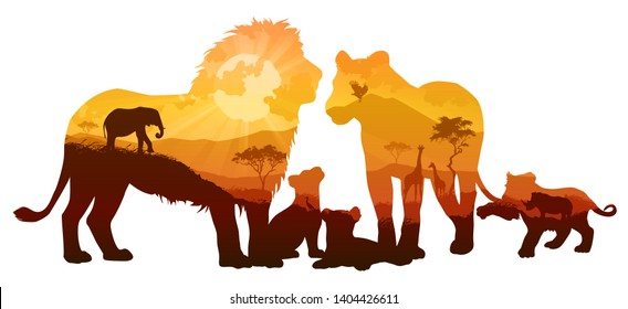 silhouette of a family of lions. Inside a savanna landscape with wild animals and birds. Isolated object, vector illustration.