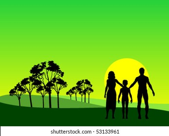 silhouette family on field