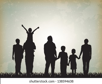 silhouette family over vintage background vector illustration