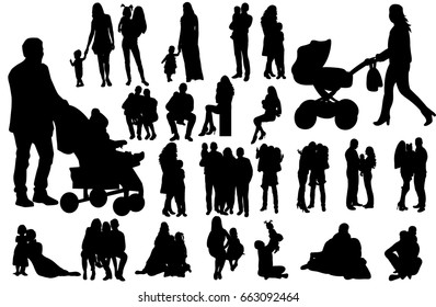silhouette family, people with children, collection