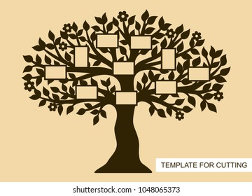 Silhouette of Family tree with photo frames. Template for laser cutting, wood carving, paper cut and printing. Vector illustration.