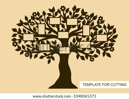 Silhouette Family Tree Photo Frames Template Stock Vector Royalty