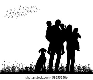 silhouette family walking on grass