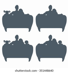 Silhouette of family watching tv. Vector illustration.