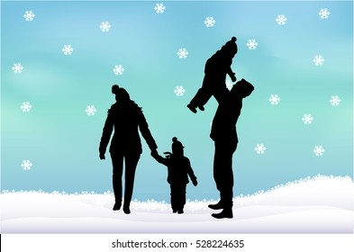 Silhouette family of winter.