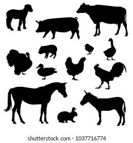 silhouette of farm animals