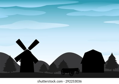 Silhouette farm view with windmill and barn
