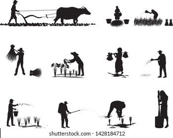 silhouette farmer cartoon shape,group set vector design