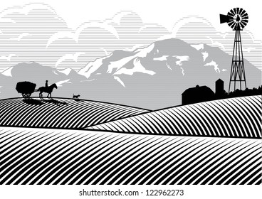 Silhouette of farmer riding a horse cart with mountains and cloud background, Vector