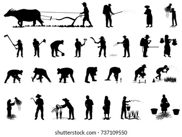 silhouette farmer shape vector design