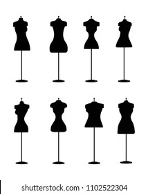 Silhouette of Fashion Dress Forms  - Vector Set of Mannequins for Different Body Types