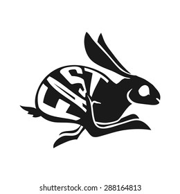 silhouette of Fast rabbit with text inside on white background. Vector Illustration