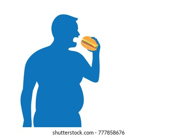 Silhouette of fat man eating a hamburger. Illustration about food and health.