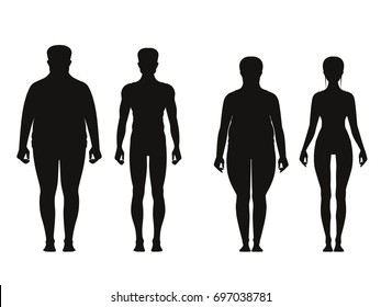Silhouette of fat and thin peoples. Weight loss of overweight man and fat woman. Vector illustrations isolate