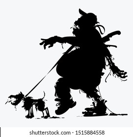 silhouette of a fat zombie with a dog vector illustration