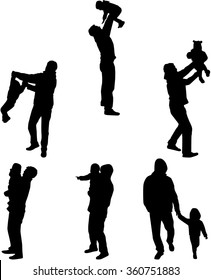 Silhouette father of the child.
