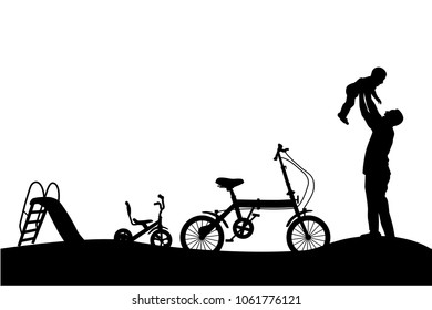 Silhouette of Father Have fun with his Children, slide, tricycle and folding bike at park