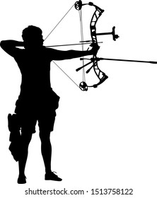 Silhouette of a female archer aiming with a compound bow