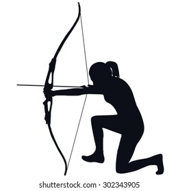 Silhouette of a female archer with bow and arrow