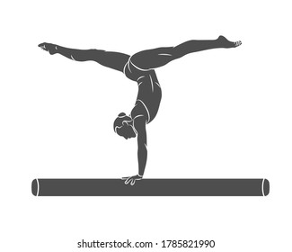 Silhouette female athlete doing a complicated exciting trick on gymnastics balance beam on a white background. Vector illustration