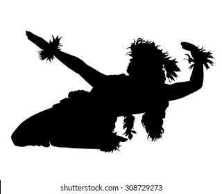 A silhouette of a female Hula dancer