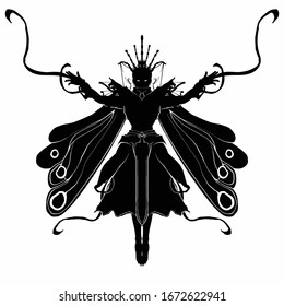 The silhouette of a female sorceress with butterfly wings hovers in the air, arms outstretched . She is dressed in an elegant suit and crown . 2D illustration