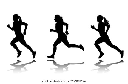silhouette of female sprinter