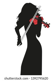Silhouette of female violinist playing a red violin isolated on white background