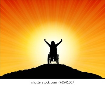 Silhouette of a female in a wheelchair with arms raised in success