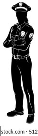 Silhouette female woman police officer policewoman