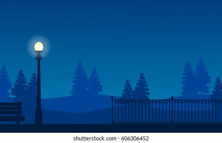 Silhouette of fence on garden with street lamp landscape