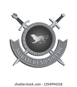 Silhouette of a ferocious beast in a circle and crossed swords. NORTH REMEMBERS. Symbol of power. Contrast image on a gray background.