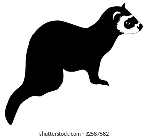 silhouette of ferret