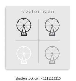 Silhouette of ferris wheel. Simple flat attraction black and white vector icon.