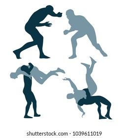 silhouette of fighters on a arena. greco-roman, freestyle, collegiate, scholastic, amateur wrestling or MMA