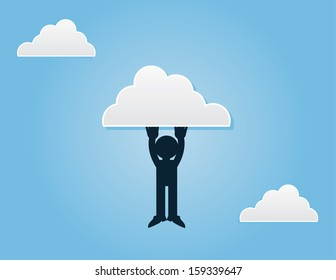 Silhouette figure hanging from a cloud