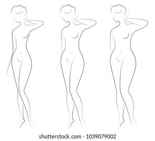 Silhouette of a figure lady. The girl is slender and the woman is fat. Vector illustration.