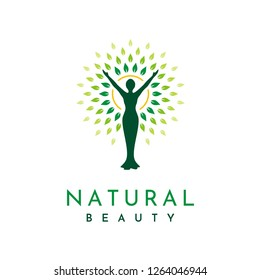 Silhouette figure, sun, and leaves for Awakening Empowering Wellness Woman relationship with Nature Logo design