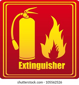 Silhouette of fire extinguisher with flare, red background. vector illustration