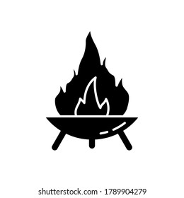 Silhouette Fire Pit on three legs. Symbol of making campfire outdoors and traveling. Diwali festival icon. Outline round bonfire bowl. Illustration for camping. Flat isolated vector, white background